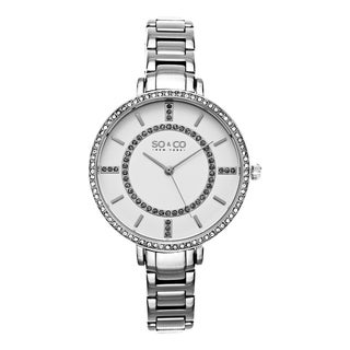 SO&CO New York Women's SoHo Quartz Silvertone Stainless Steel Crystal Bracelet Watch