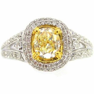 Kabella 18k Two-tone Gold 4/5ct TDW Fancy Yellow Oval-cut Diamond Ring (G-H, SI1-SI2) (Size 7)