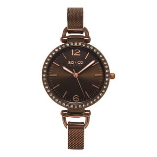 SO&CO New York Women's SoHo Quartz Brown Stainless Steel Crystal Mesh Band Watch|https://ak1.ostkcdn.com/images/products/10410867/P17511509.jpg?impolicy=medium