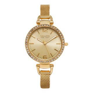 SO&CO New York Women's SoHo Quartz Goldtone Stainless Steel Crystal Mesh Band Watch|https://ak1.ostkcdn.com/images/products/10410869/P17511510.jpg?impolicy=medium