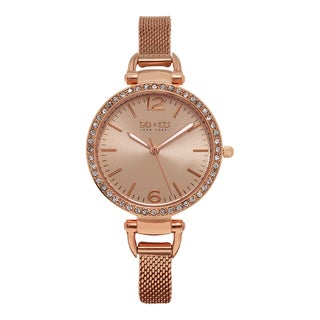 SO&CO New York Women's SoHo Quartz Rosetone Stainless Steel Crystal Mesh Band Watch