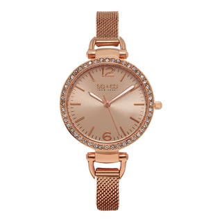 SO&CO New York Women's SoHo Quartz Rosetone Stainless Steel Crystal Mesh Band Watch|https://ak1.ostkcdn.com/images/products/10410870/P17511511.jpg?impolicy=medium