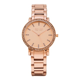 SO&CO New York Women's Madison Quartz Rosetone Stainless Steel Crystal Bracelet Watch