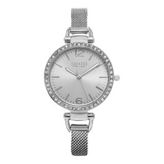SO&CO New York Women's SoHo Quartz Silvertone Stainless Steel Crystal Mesh Band Watch