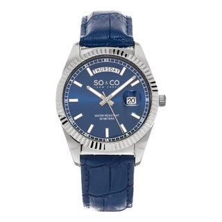 SO&CO New York Men's Madison Quartz Blue Leather Strap Watch