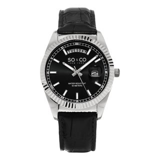 SO&CO New York Men's Madison Quartz Black Leather Strap Watch