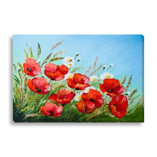 Gallery Direct FTOLIA 'oil painting - poppies in the field' Canvas Gallery Wrap