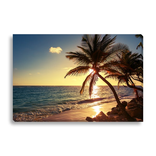 Gallery Direct FTOLIA 'Palm tree on the tropical beach' Canvas Gallery Wrap