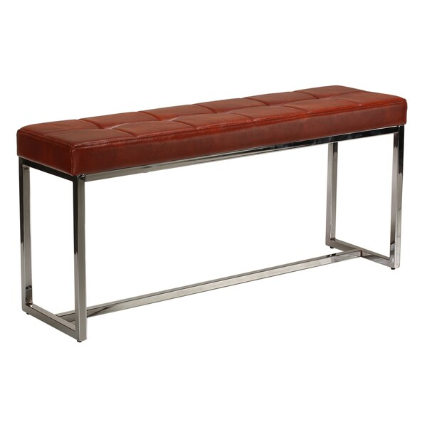 Cortesi Home Livio Contemporary Narrow Tufted Bench, Brown Leather Like  Vinyl