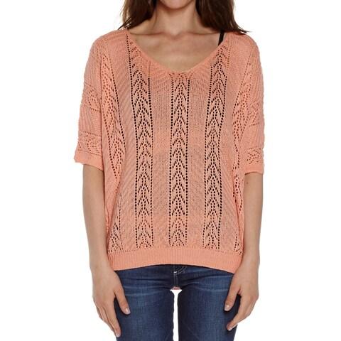 Dinamit Women's Cotton Knit Crochet V-Neck Sweater