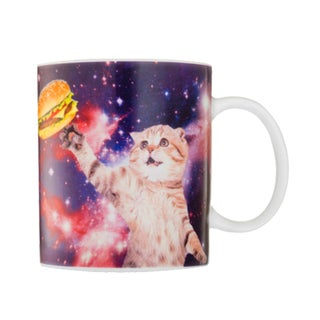 Cat In Spacewith  Cheeseburger 20-ounce Ceramic Coffee Cup