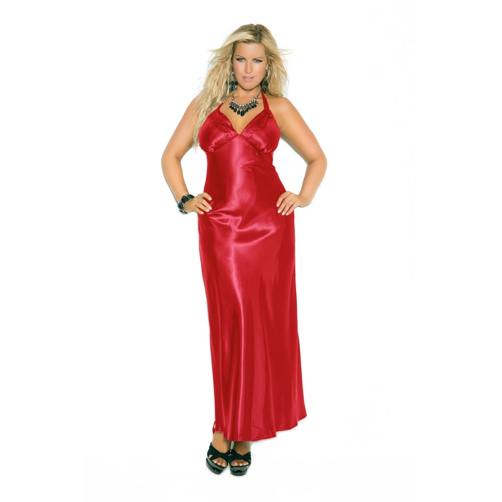 Elegant Moments Charmeuse Plus Size Satin Halter Nightgown