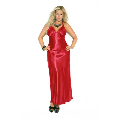 Elegant Moments Charmeuse Plus Size Satin Halter Nightgown