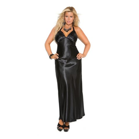 6dc173ef00 Romance Selections Women s Long Gown with Inset Lace Panels. Details. 218.  Elegant Moments Charmeuse Plus Size Satin Halter Nightgown