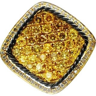 Kabella 18k Yellow Gold 1 1/3ct TDW Yellow and White Diamond Square Ring (G-H, SI1-SI2) (Size 6.5)