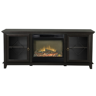 Lotus 67-inch Wide Media Fireplace in Chestnut