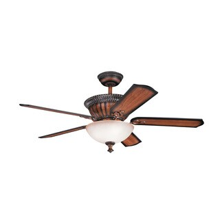 Kichler Lighting Larissa Collection 52-inch Mediterranean Walnut Ceiling Fan with Light