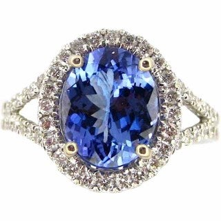 Kabella Luxe 14k White Gold Oval Tanzanite 5/8ct TDW Diamond Halo Ring (G-H, SI1-SI2) (Size 6.5)