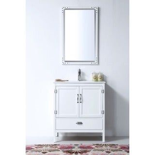 30-inch White Color Wood Sink Vanity Set with Mirror and Ceramic Top