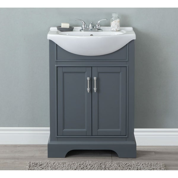Shop 24 in bathroom vanity in dark gray with ceramic top - Bathroom vanities 32 inches wide ...