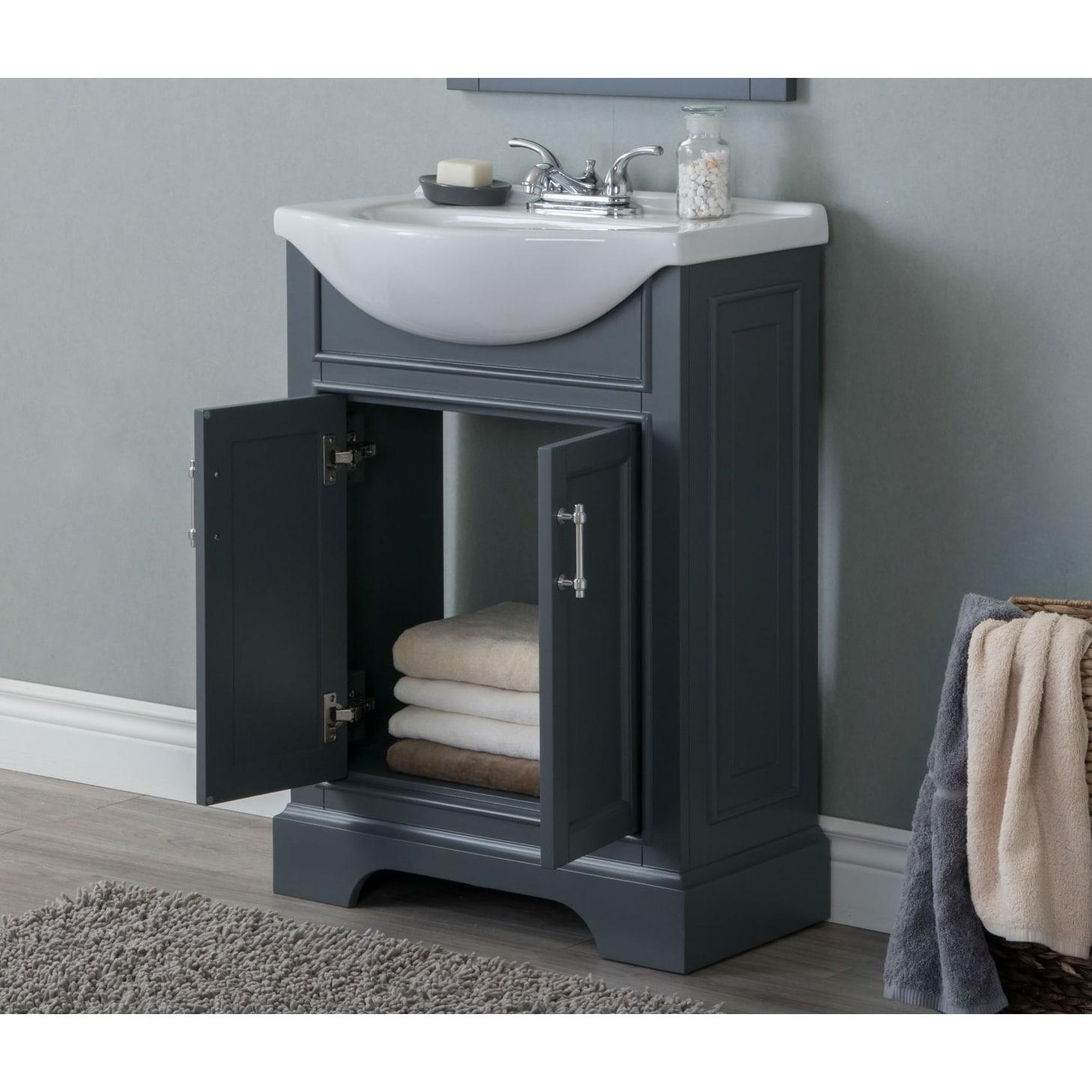 24 In Bathroom Vanity In Dark Gray With Ceramic Top On Sale Overstock 10411161