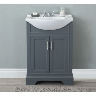 24 in. Bathroom Vanity in Dark Gray with Ceramic Top