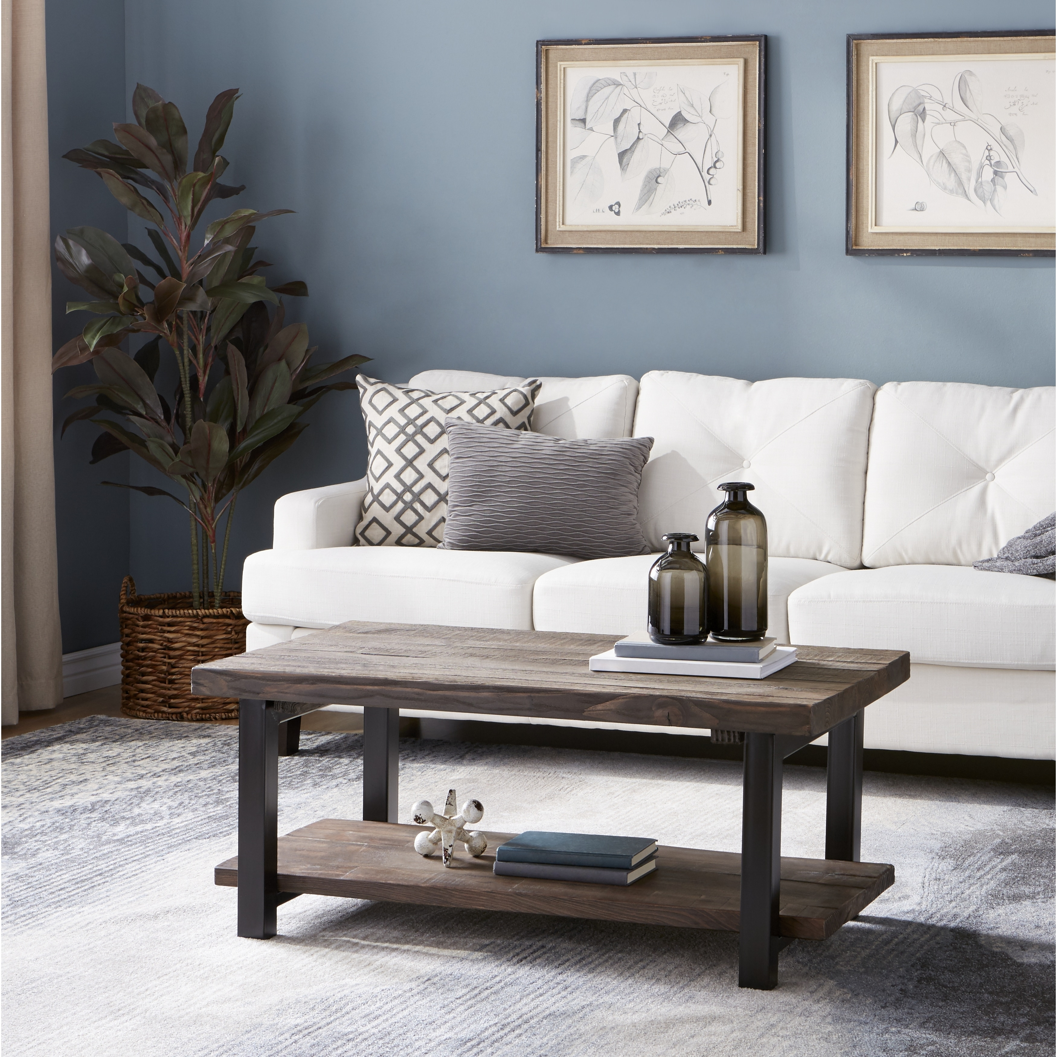 farmhouse coffee table low 2 tier living room display
