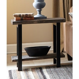 Alaterre Pomona Metal and Reclaimed Wood End Table with Shelf