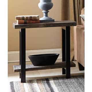 Carbon Loft Kenyon Metal and Reclaimed Wood End Table with Shelf