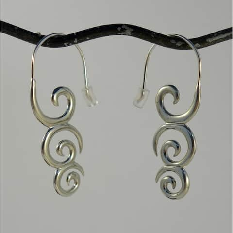 Handmade White Brass Koru Koru Dangle Earrings by Spirit (Indonesia)