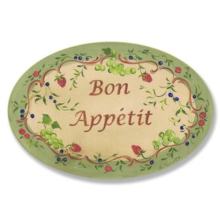 Green and Red Bon Appetit Oval Wall Plaque