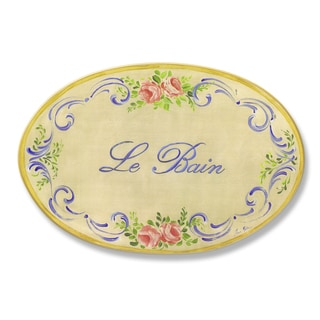 Stupell Yellow and Blue Floral Le Bain Bath Oval Wall Plaque