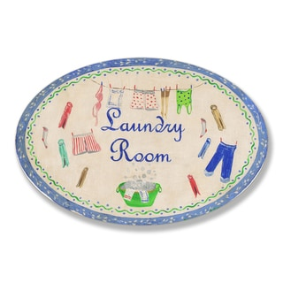 Stupell Blue Laundry Room Oval Wall Plaque