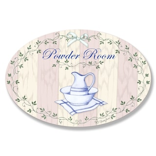 Stupell Powder Room Pink with Pitcher Bath Oval Wall Plaque