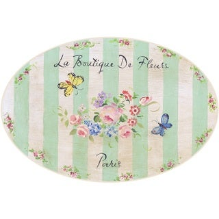Stupell La Boutique De Fleurs Paris Butterfly Oval Kitchen Wall Plaque