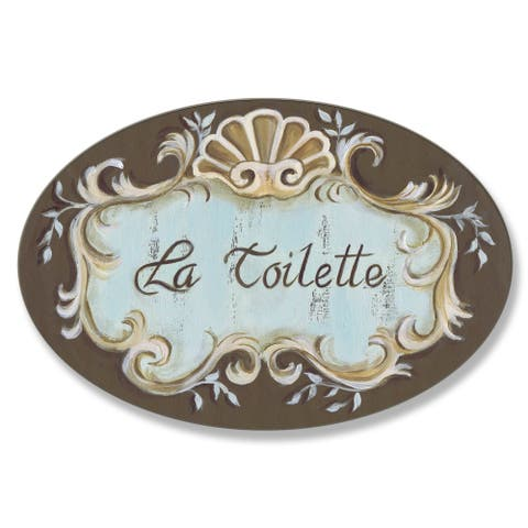 Stupell La Toilette Brown Crest Top Bath Oval Wall Plaque