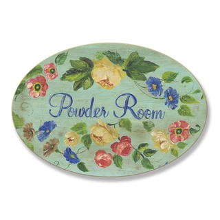 Stupell Green Floral Border Powder Room Oval Wall Plaque