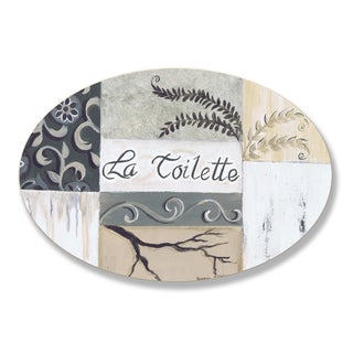Stupell La Toilette Tan and Black Patchwork Oval Wall Plaque