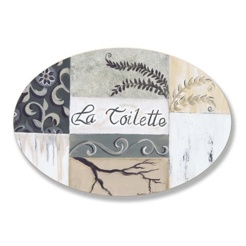 Stupell La Toilette Tan and Black Patchwork Oval Wall Plaque - Off-white
