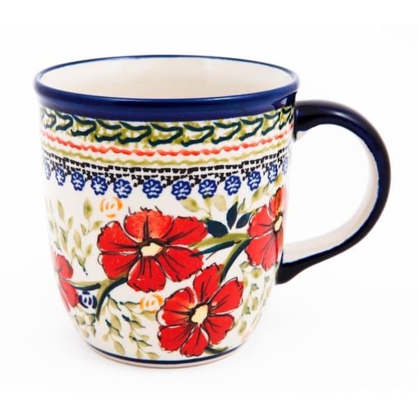 Handmade Stonware Floral Mug (Poland). Opens flyout.