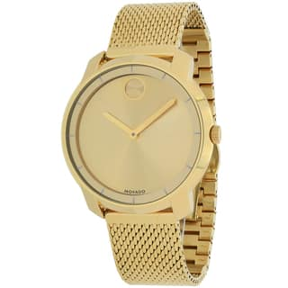 Movado Women's 3600242 Bold Round Gold Ion-Plated Stainless Steel Mesh Bracelet Watch|https://ak1.ostkcdn.com/images/products/10411240/P17511857.jpg?impolicy=medium