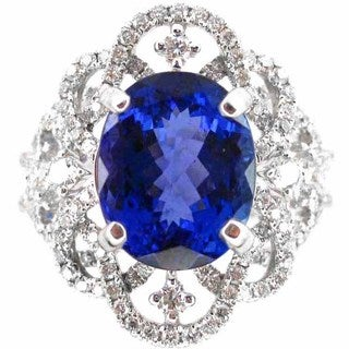 Kabella Luxe 18k White Gold Oval-cut Tanzanite 7/8ct TDW Diamond Ring (G-H, SI2-SI3) (Size 6)
