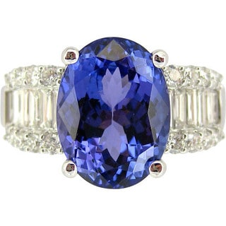 Kabella 18k White Gold Oval-cut Tanzanite 1ct TDW Diamond Ring (G-H, SI1-SI2) (Size 6.5)