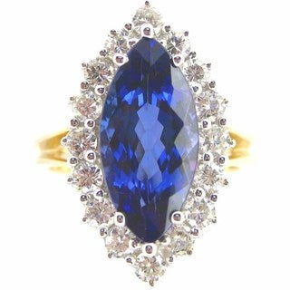 Kabella Luxe 18k Yellow Gold Marquise-cut Tanzanite 7/8ct TDW Diamond Ring (G-H, SI2-SI3) (Size 6)