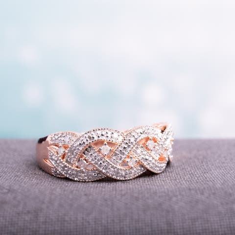 Miadora Rose Plated Silver 1/8ct TDW Diamond Ring