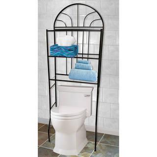 Home Basics Black Steel 2-shelf Bathroom Space Saver