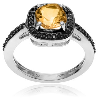 Journee Collection Sterling Silver Citrine Halo Ring