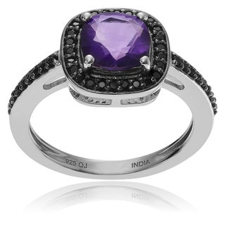 Journee Collection Sterling Silver Amethyst Spinel Halo Ring