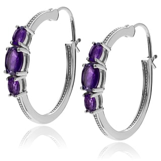 Journee Collection Sterling Silver Amethyst Hoop Earrings