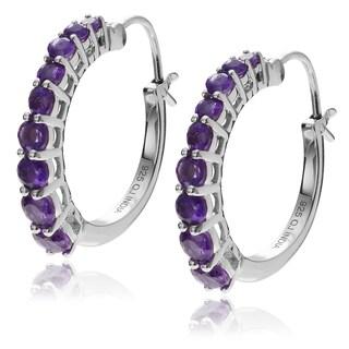 Journee Collection Sterling Silver Amethyst Hoop Earrings